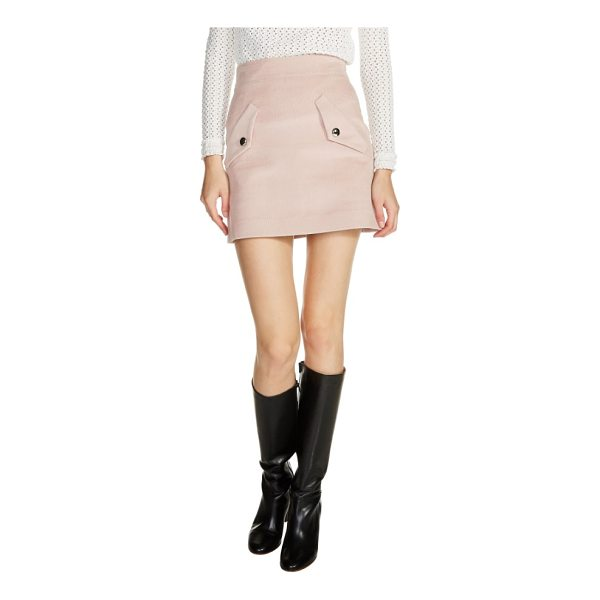 MAJE two-pocket a-line miniskirt - Tailored from fall-classic corduroy-updated in a pale-pink...