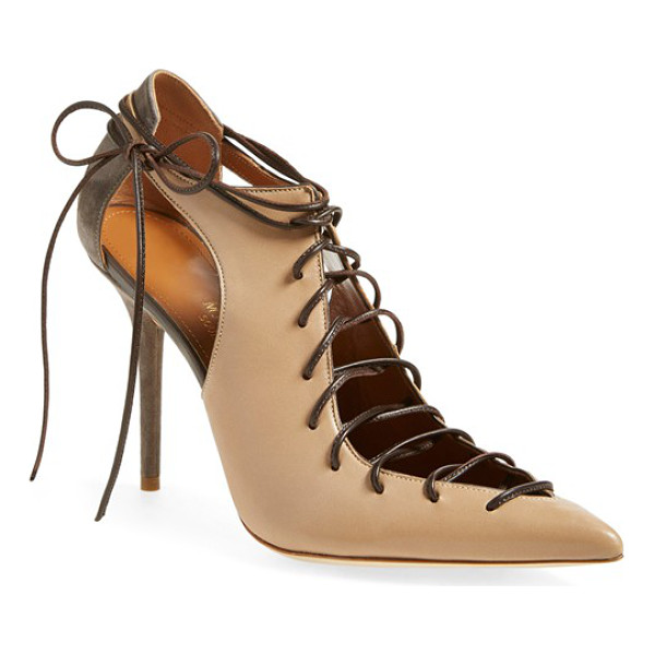 MALONE SOULIERS montana lace-up pointy toe pump - Slender, corset-inspired laces crafted from supple nappa...
