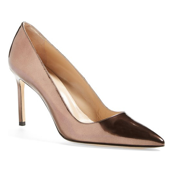 MANOLO BLAHNIK bb patent leather pointy toe pump - The iconic BB pump is done up in bronze metallic leather...