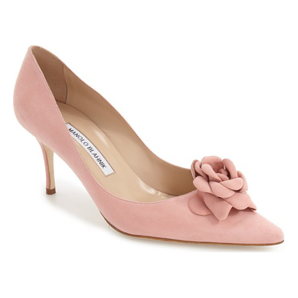 MANOLO BLAHNIK 'camelia' pump - A tonal rosette provides an eclectic update on a...