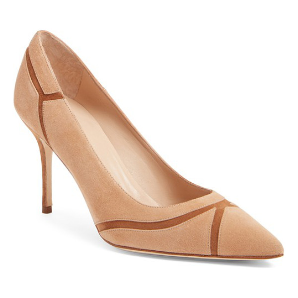 MANOLO BLAHNIK dasti bicolor patchwork pointy toe pump - Delicate piecing and a graceful pointy-toe silhouette that...