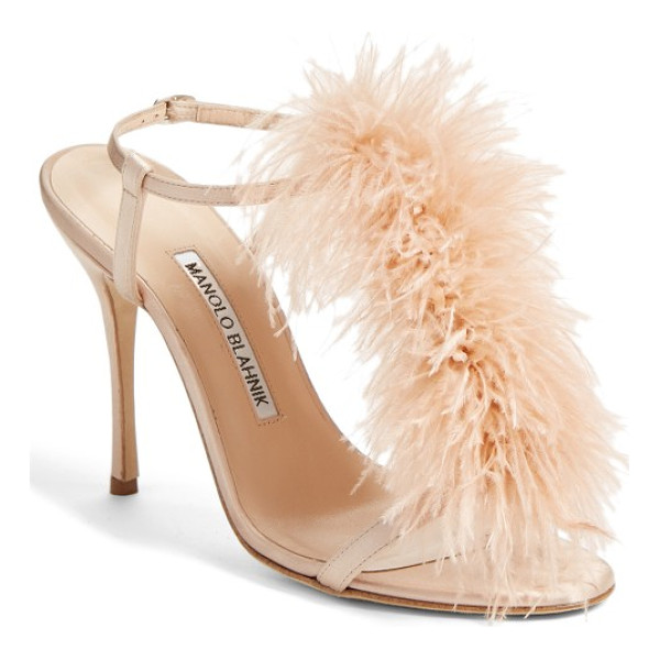 MANOLO BLAHNIK eila t-strap sandal - Dramatic feather embellishments amplify the retro glamour