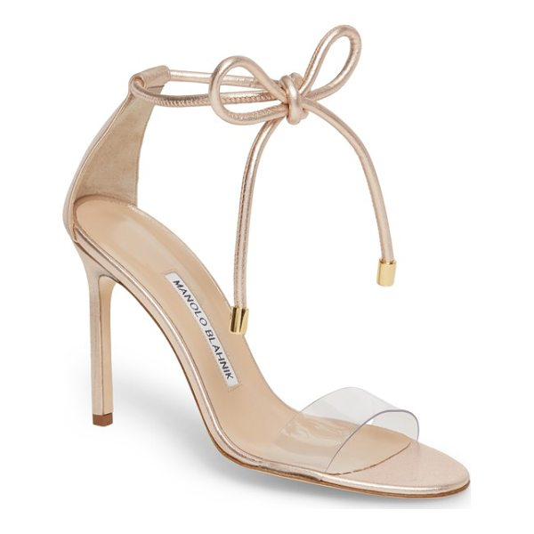 MANOLO BLAHNIK estro ankle tie sandal - A see-through strap at the vamp enhances the barely-there...