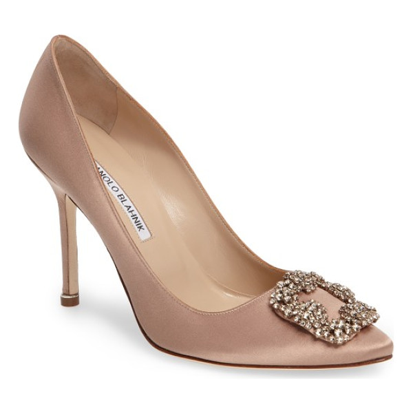 MANOLO BLAHNIK 'hangisi' jewel pump - A bejeweled buckle-like ornament sparkles at the pointy toe...