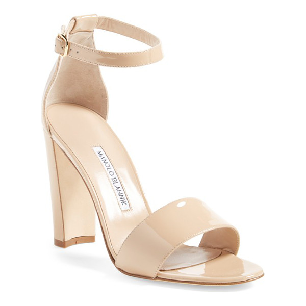 MANOLO BLAHNIK 'lauratopri' sandal - A svelte half-moon heel adds architectural interest to a...