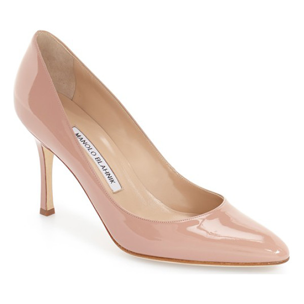 MANOLO BLAHNIK lisa patent pump - Clean lines and glossy patent leather distinguish a sleek...