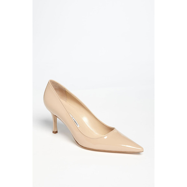 MANOLO BLAHNIK newcio pump - A slender wrapped heel supports a classic pointy-toe pump...