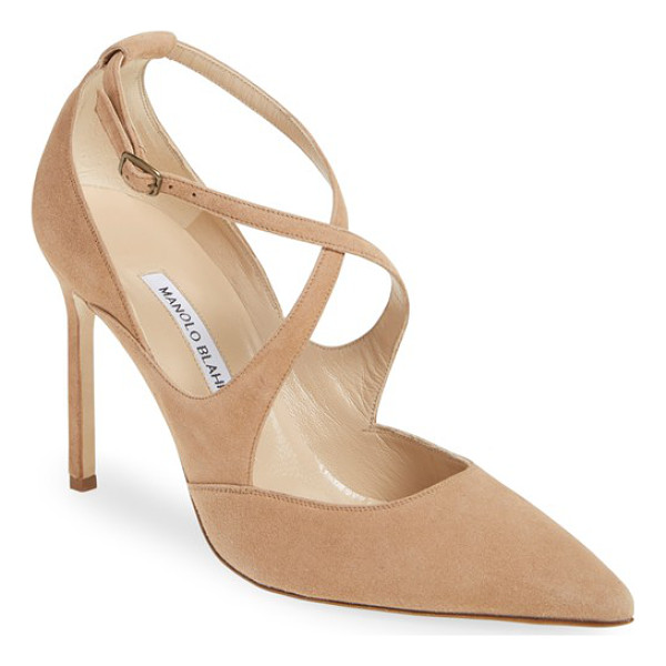 MANOLO BLAHNIK 'tugia' pointy toe pump - Svelte curved straps cross the vamp of a rich suede pump...