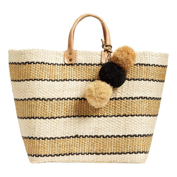 MAR Y SOL 'capri' woven tote with pom charms - Handmade in Madagascar using sustainable materials, a roomy...