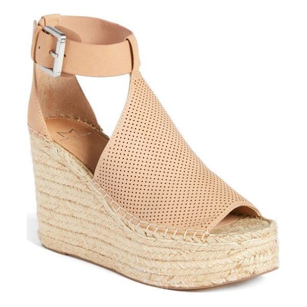 MARC FISHER LTD annie perforated espadrille platform wedge - A perforated vamp connects an open toe and cutout ankle...