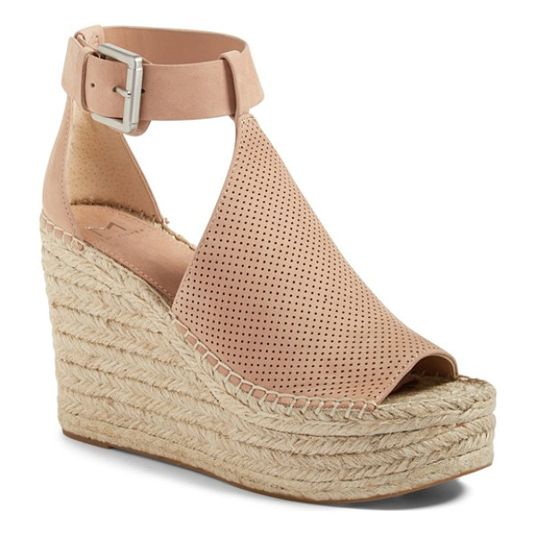 MARC FISHER LTD annie perforated espadrille platform wedge - A perforated vamp connects an open toe and cutout ankle