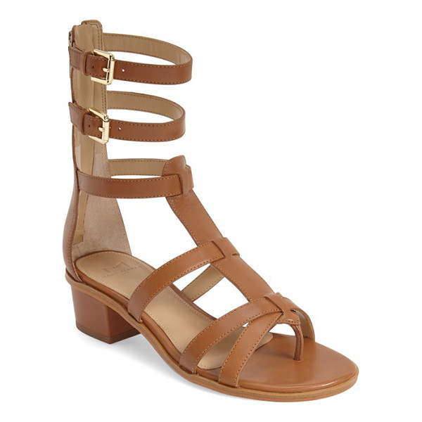 MARC FISHER LTD fawn gladiator block heel sandal - A series of thin leather straps wrap the foot and ankle on...