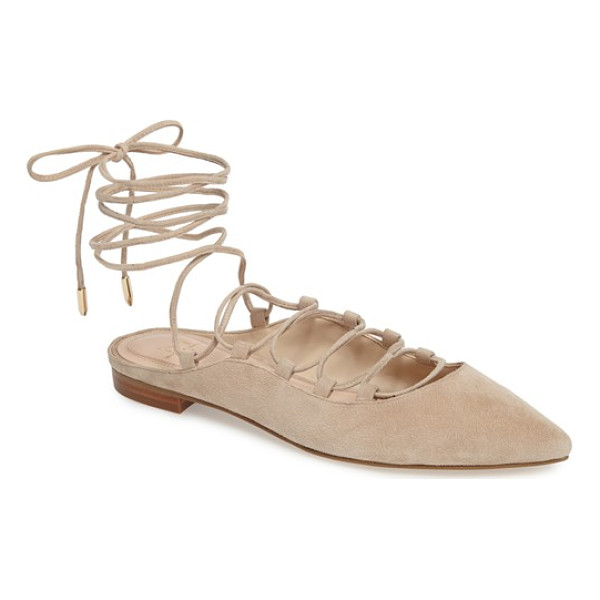 MARC FISHER LTD sbrina wraparound lace flat - Cut from soft suede, this pointy-toe flat laces...