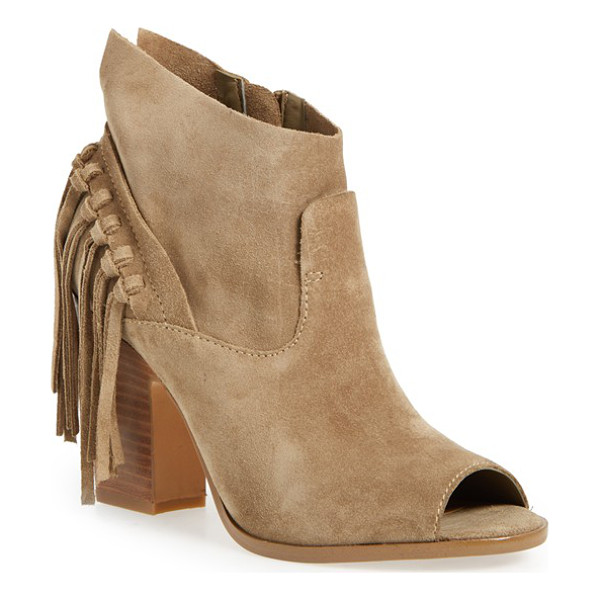 MARC FISHER LTD onita fringe peep toe bootie - A curtain of sassy suede tassels dances at the heel of this...