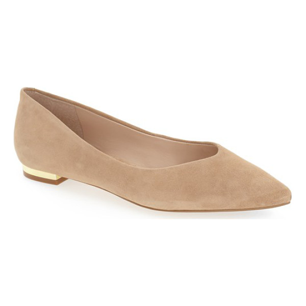MARC FISHER LTD 'synal' pointy toe flat - A gilt heel adds a flash of minimalist sophistication to a...