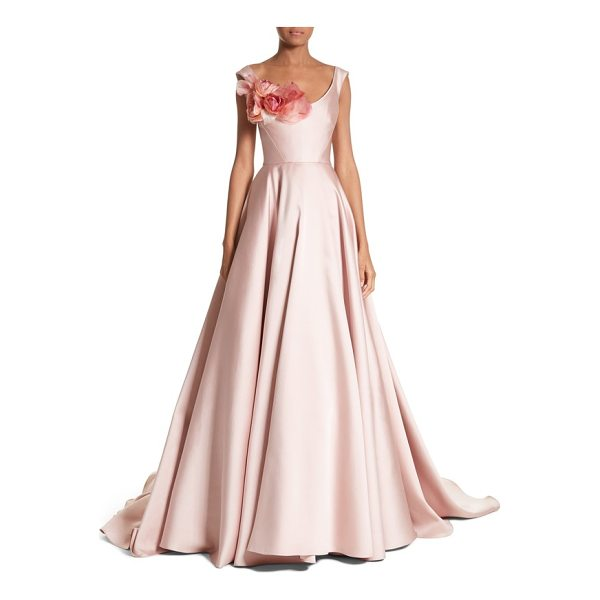 MARCHESA corsage off the shoulder satin ballgown - A lush bouquet blooms at the scooped neckline of this...