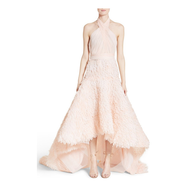 MARCHESA draped bodice crepe halter gown - Deftly ruched panels crisscross the bust and wrap the waist...
