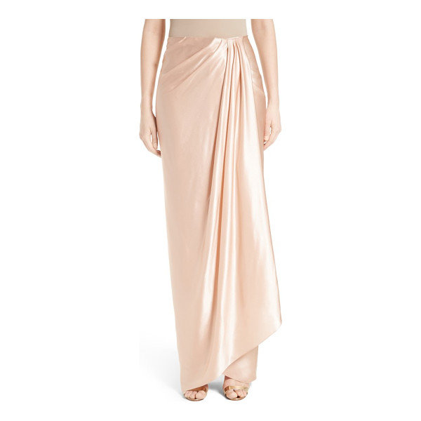 MARCHESA grecian draped satin georgette wrap skirt - Precise draping creates elegant flow for a long, slim wrap...