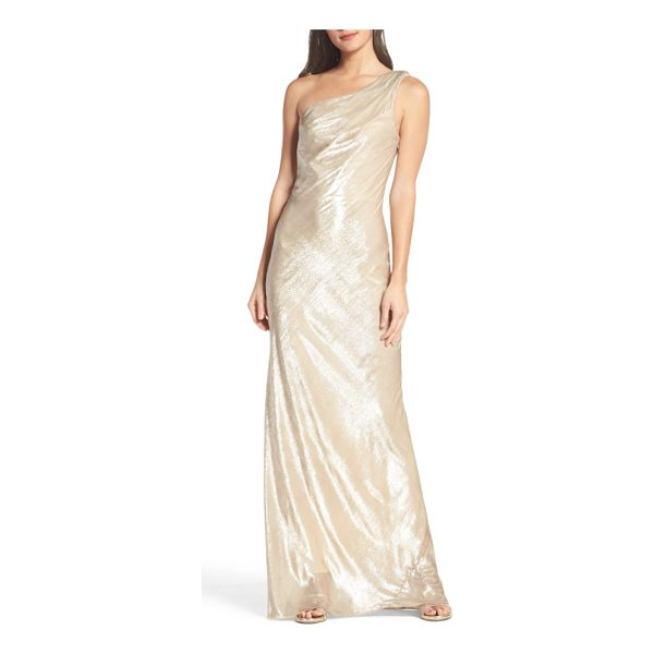 MARIA BIANCA NERO stelle metallic velvet one-shoulder gown - Luxe velvet takes on eye-catching radiance woven with...