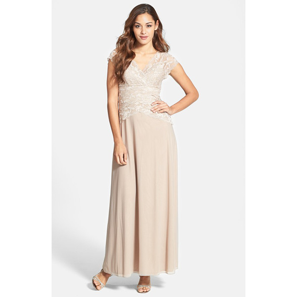 MARINA cap sleeve lace bodice gown - For an element of sheer romance, tonal lace with delicate...