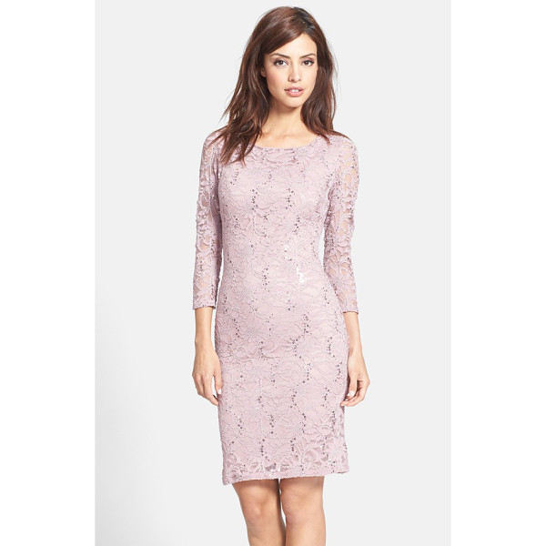 MARINA embellished stretch lace sheath dress - Iridescent sequins cast luminous jewel tones across the...