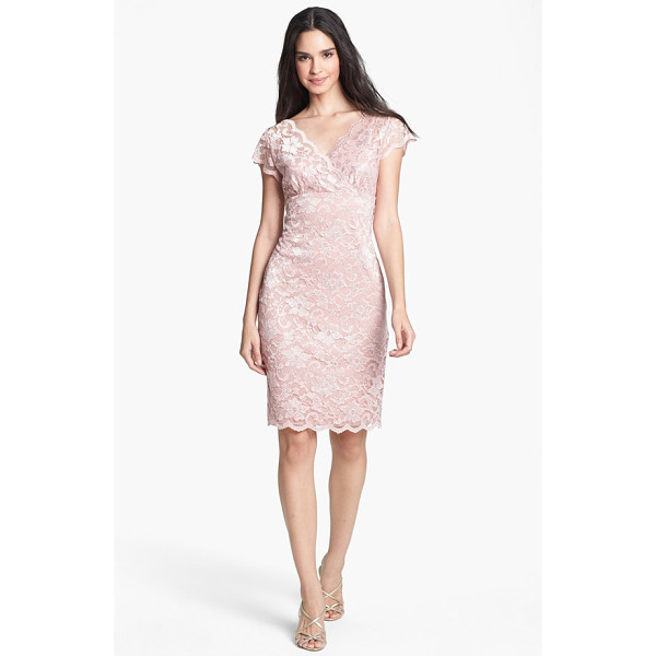 MARINA stretch lace sheath dress - Delicate lace composes the elegant surplice bodice and...