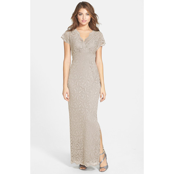 MARINA surplice stretch lace gown - A majestic column of lavish lace is left sheer at the...