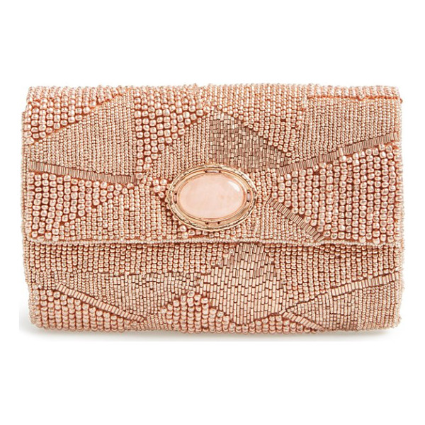 MARY FRANCES Beaded clutch - An exquisite envelope clutch is alight with geometric...