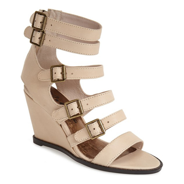 MATISSE honor wedge sandal - An array of buckle straps heightens the modern allure of a...