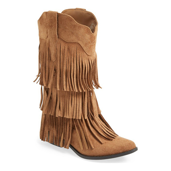 MATISSE saloon fringe tall boot - Tiered fringe adds flouncy movement with every step in a...