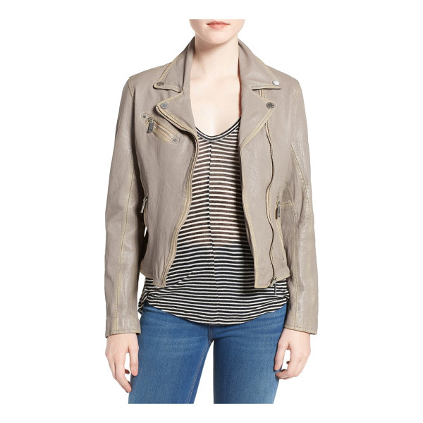 MAURITIUS LEATHER leather moto jacket - Buttery-soft lambskin leather in a light neutral shade...