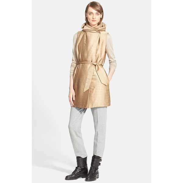 MAX MARA ariel hooded crocodile jacquard vest - A quilted crocodile pattern and warm, luminous sheen refine...