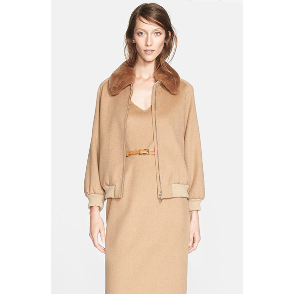 MAX MARA bergen camel hair jacket with genuine rabbit fur collar - This camel hair jacket offers a refined take on classic...