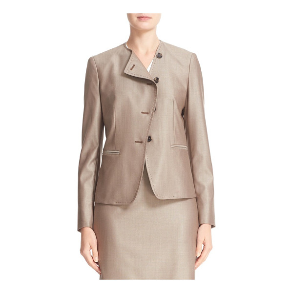MAX MARA erba asymmetrical jacket - An asymmetrical button placket modernizes a collarless...