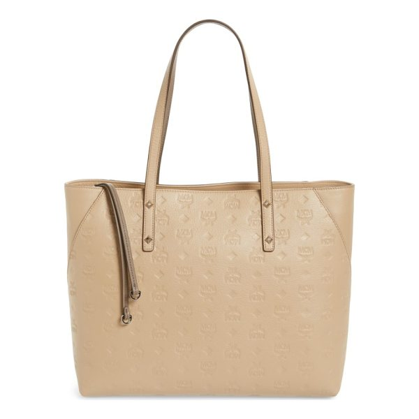 MCM klara monogrammed leather shopper - Logo-embossed leather brands a chic shopper featuring...