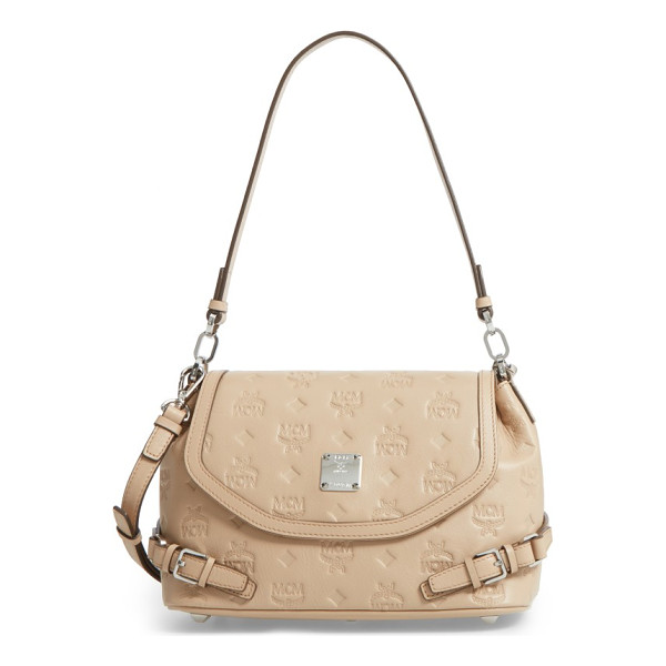 MCM signature monogram embossed leather shoulder/crossbody bag - Instantly recognizable logo embossing peppers a supple...