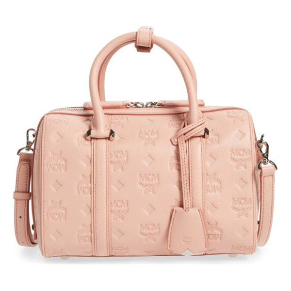 MCM small boston monogram leather satchel - A structured satchel covered with the brand's signature...
