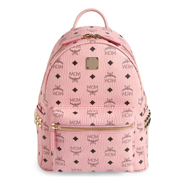 MCM small stark side stud coated canvas backpack - Gleaming goldtone pyramid studs add a little cool-girl edge...
