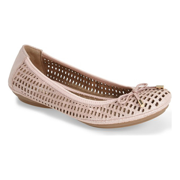 ME TOO farrah perforated leather ballet flat - Rectangular perforations lighten up an easy ballet flat...