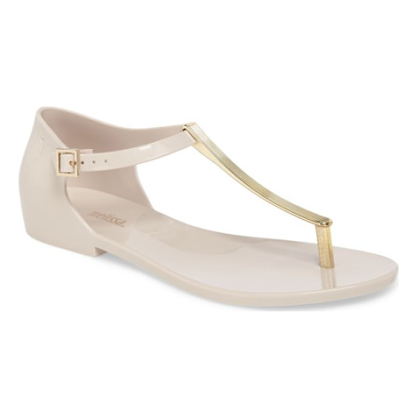 MELISSA honey chrome thong sandal - A textured metallic thong strap adds a glam update to a...