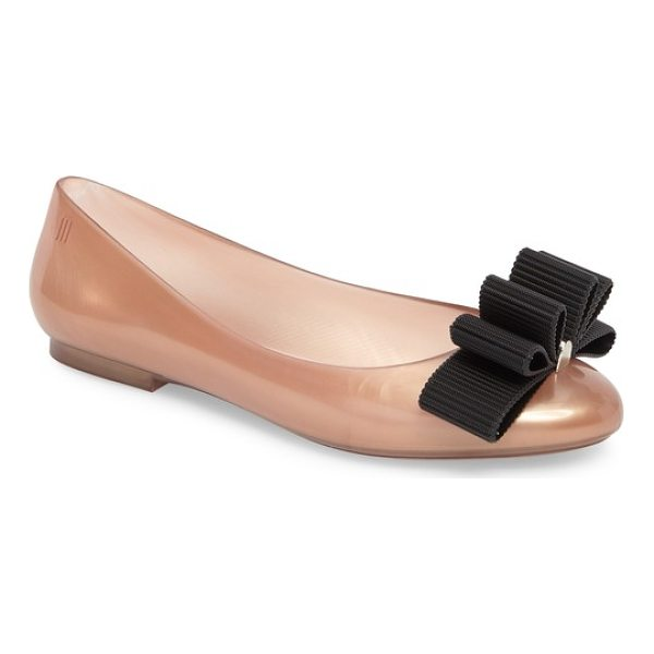 MELISSA + jason wu doll bow flat - A multilayered bow centered by a polished logo bar tops a...