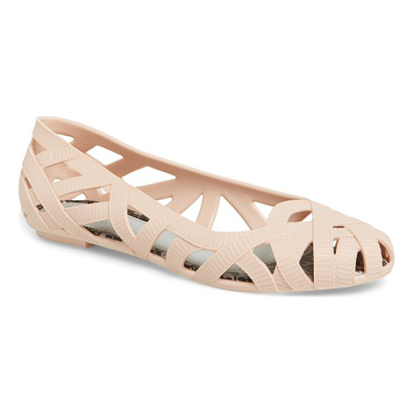 MELISSA + jason wu jean jelly flat - Textured open weaves inspired by grosgrain ribbons bring...