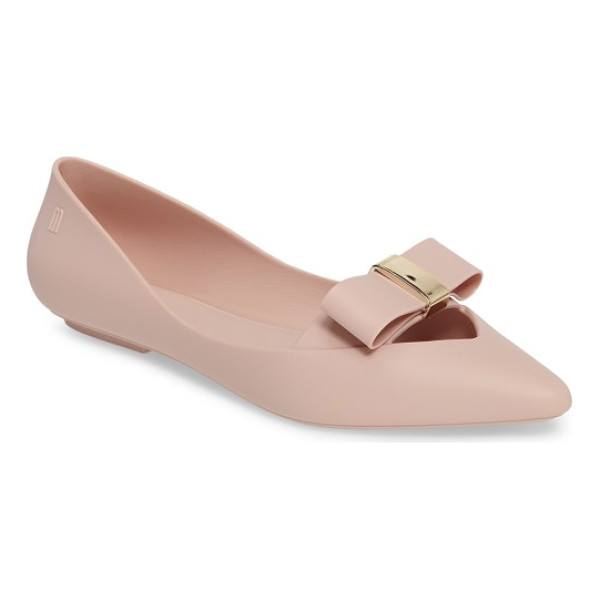MELISSA maisie ii bow pointy toe flat - A flat bow cinched in a gleaming metallic knot frames the...