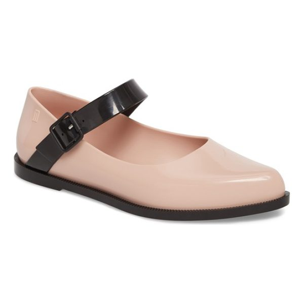 MELISSA pointy toe mary jane flat - A contrast mary jane strap angles smartly across a...