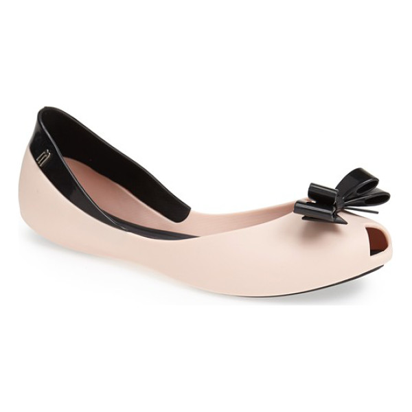 MELISSA queen peep-toe flat - A sculptural bow furthers the playful vibe of a...