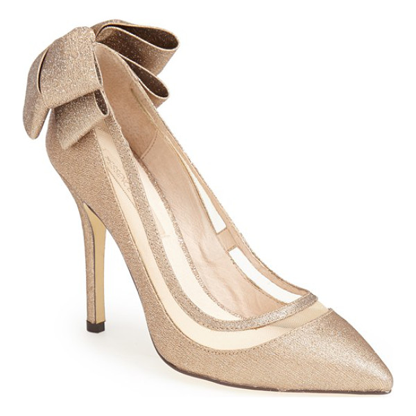 MENBUR 'crusy' glitter pointy toe pump - A double bow wraps the heel of a slinky glitter pump styled...