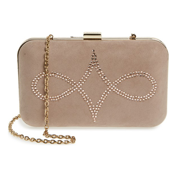 MENBUR crystal embellished suede clutch - Simply elegant, this pure suede box clutch features a...
