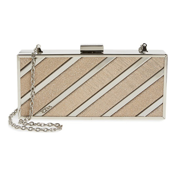 MENBUR glitter box clutch - Alternating metallic and glitter stripes make this