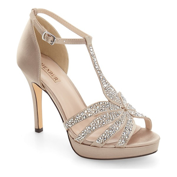 MENBUR noguera platform sandal - Faceted crystals shimmer on the T-strap of a dramatic