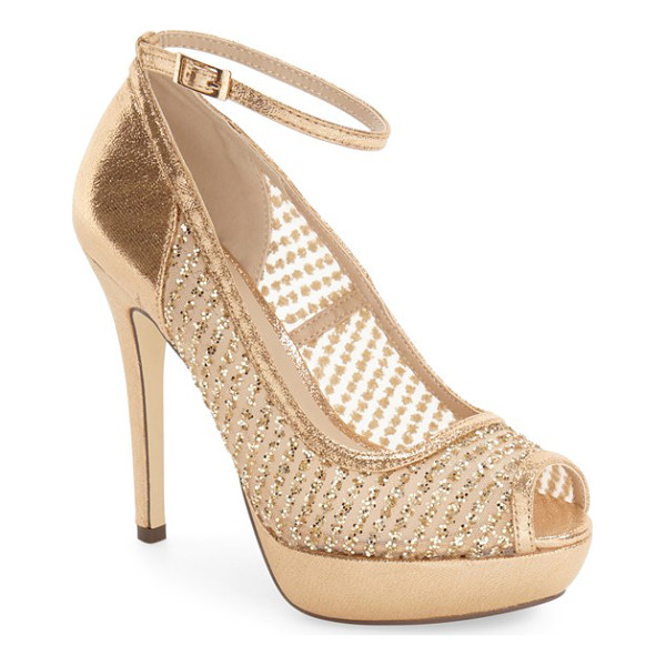 MENBUR 'tambre' glitter platform sandal - Glittery pinstripes on illusion mesh detail this flirty